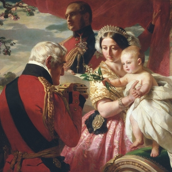 Queen Victoria holds her third son, Prince Arthur, as he is presented with a jewel casket by his godfather, Arthur, Duke of Wellington. In return the child hands over a nosegay of lily of the valley, a flower traditionally given as a good luck charm on 1