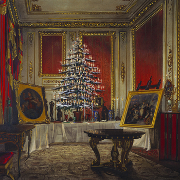 DM 4623: a decorated tree on a table with presents, paintings, and a bracelet designed by Prince Albert.  Signed, dated and inscribed.