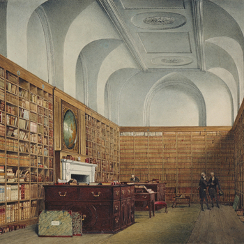 Although this view has previously been identified with the first of the library rooms - the Great or West Library - contemporary plans demonstrate that the room shown here can only be the East Library, added in 1772-3 parallel to the Great Library. In 177