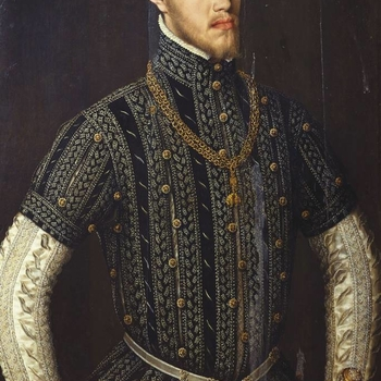 This striking portrait is one of a group of paintings dating from the 1550s depicting Phillip II of Spain. Shown in black and yellow costume and known as the 'black-and-yellow' type, these paintings are associated with official portraits of Phillip II as