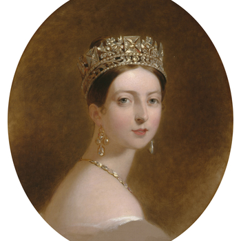 The Society of the Sons of St George at Philadelphia commissioned Sully to paint a portrait of the young Queen Victoria (now in the Metropolitan Museum, New York); this head is either a copy from that portrait or from a preliminary sketch for it. The Quee