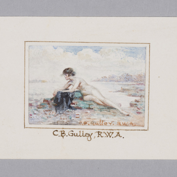 Full length figure of reclining nude female at water's edge. Signed at lr.
