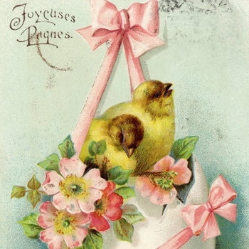 Detail of drawing showing chicks nestling in an egg in an Easter scene