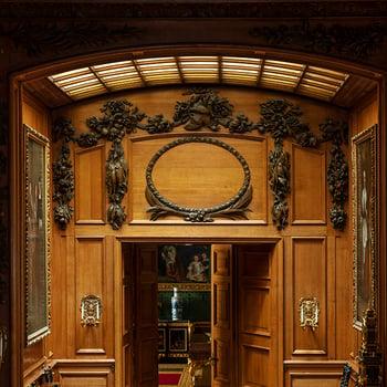 Detail of overdoor carving in Windsor Castle
