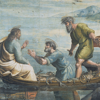 Christ addressing fishermen - detail from the Miraculous Draft of Fishes