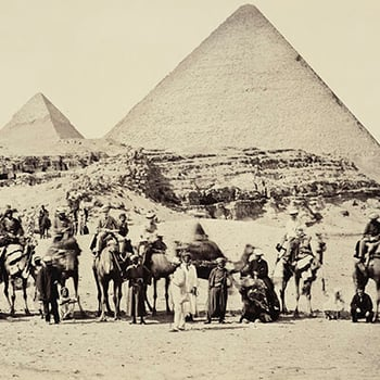 Detail from a photograph of the Prince of Wales visit to the Great Pyramid