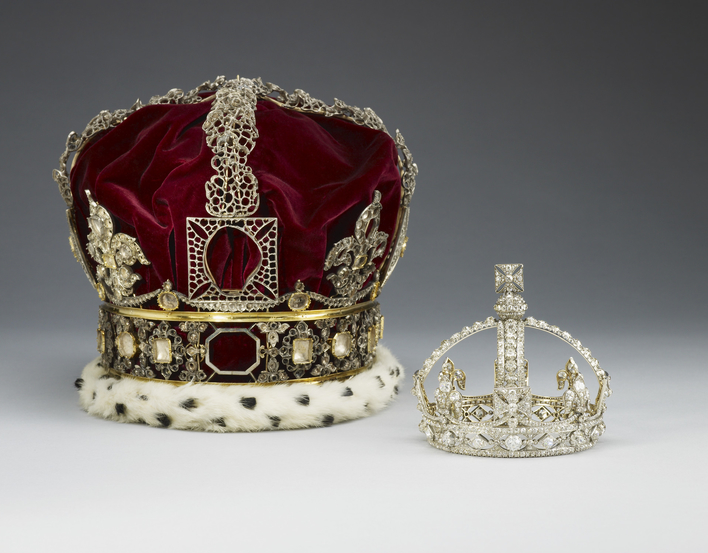 A crown frame of gold and silver, no longer mounted with stones, the monde missing, with a red velvet cap and ermine band.