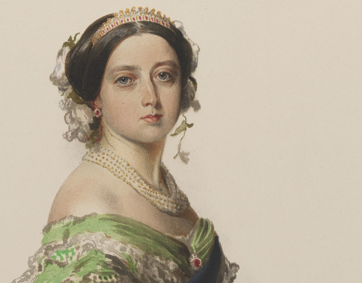 Watercolour of Queen Victoria in a green dress