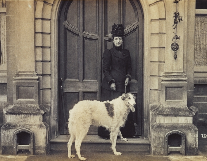 The Princess of Wales with Alex, a Borzoi