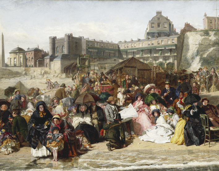 Ramsgate, a seaside resort on the Kentish coast, became accessible for day trips from London in the 1840s as a result of the development of the railways. In Frith's picture children building sandcastles and fashionably dressed young ladies appear alongsid