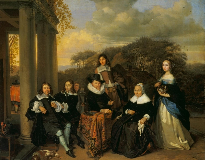 In the period 1655-75 Dutch painters transformed the depiction of middle-class interiors and courtyards, whether in group portraits and genre paintings. Various aspects of this transformation can be seen this painting. The Family Group by Barent Graat was