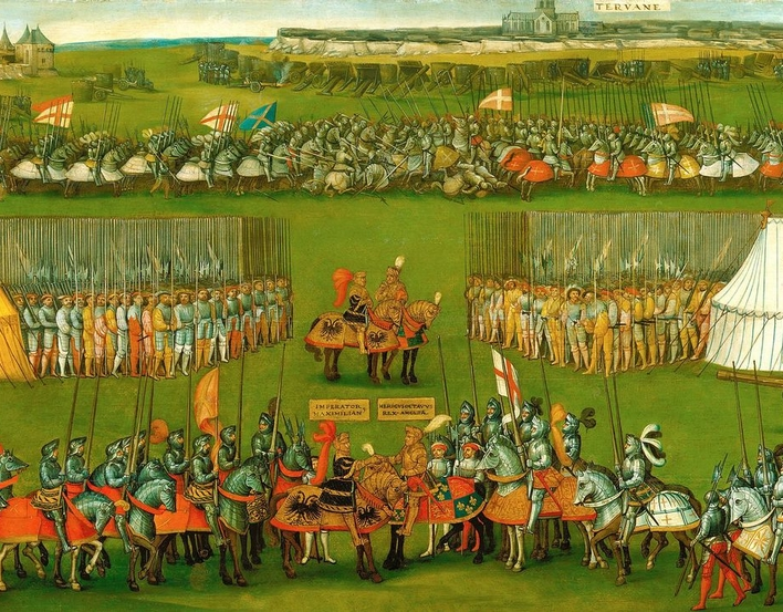 In order to pursue his ambitions in France, Henry VIII formed an alliance with the Holy Roman Emperor, Maximilian I. This painting records their meeting and the main events pertaining to Henry's first campaign against the French in 1513.