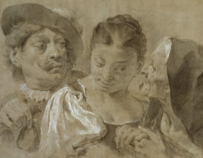 A drawing of three figures including a young woman in the centre, an old woman whispering to her on the right and a man in a plumed hat offering a bag of money on the left.
