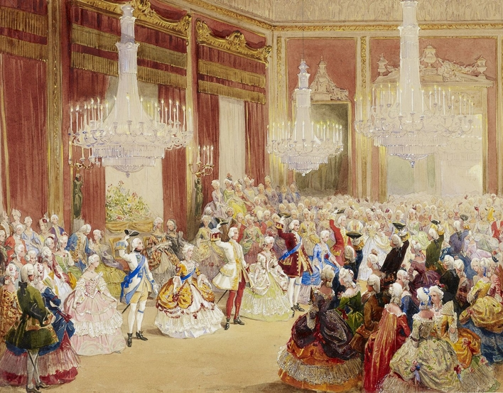 A watercolour depicting the royal set lined up for the 'Menuet de la Cour.' From left to right are the duchesse de Nemours, the Prince of Leiningen, the Queen together with the duc de Nemours, Prince Albert and Prince George of Cambridge dancing with 2 la