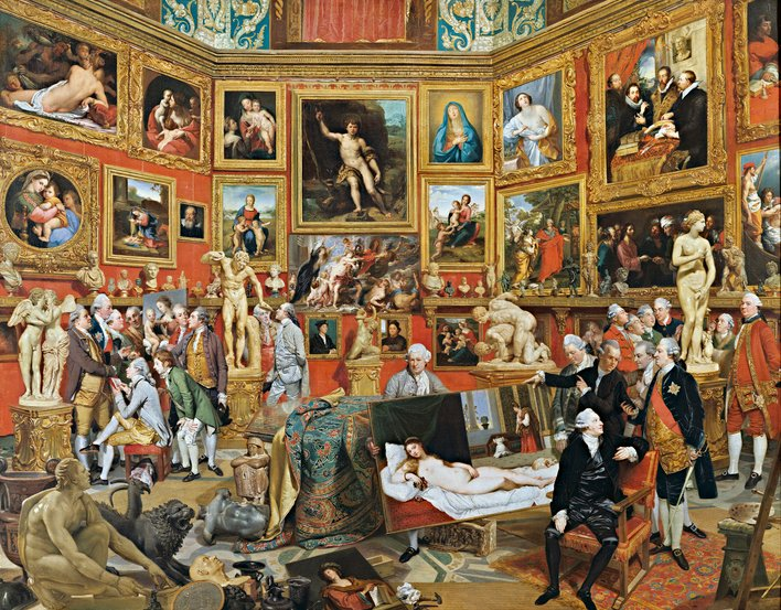 In the summer of 1772 Zoffany set off for Florence with £300, letters of introduction and a commission from the Queen to paint highlights of the Grand Duke of Tuscany's collection shown within the Tribuna of the Uffizi Palace. The inspiration