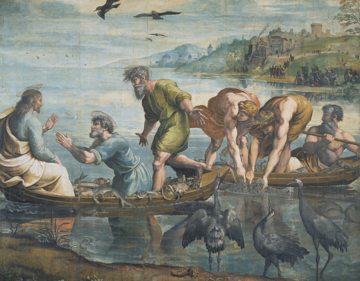 A full-scale drawing, known as a cartoon, for the tapestry of The Miraculous Draft of Fishes, commissioned by Pope Leo X for the Sistine Chapel. The cartoon shows two boats on the water. On the left Christ is seated, with the Apostles Peter and Andrew in