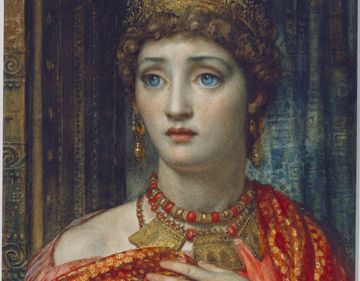 A drawing of the head and shoulders of a female dressed as Helen of Troy in a red robe and wearing a gold circlet and jewellery. Signed in monogram and dated.<br> <br>There is an earlier version, in oils, of this watercolour in the Art Gallery o