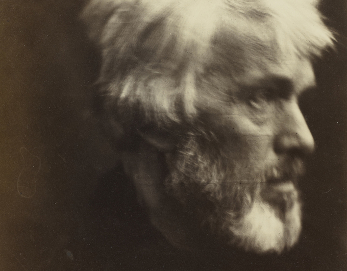 Photograph of Thomas Carlyle, head and shoulders, almost profile right. <br /><br />This portrait of Thomas Carlyle (1795-1881), celebrated historian and essayist, was widely admired by Cameron&rsquo;s artist friends, including Millais, Rossetti and Watts