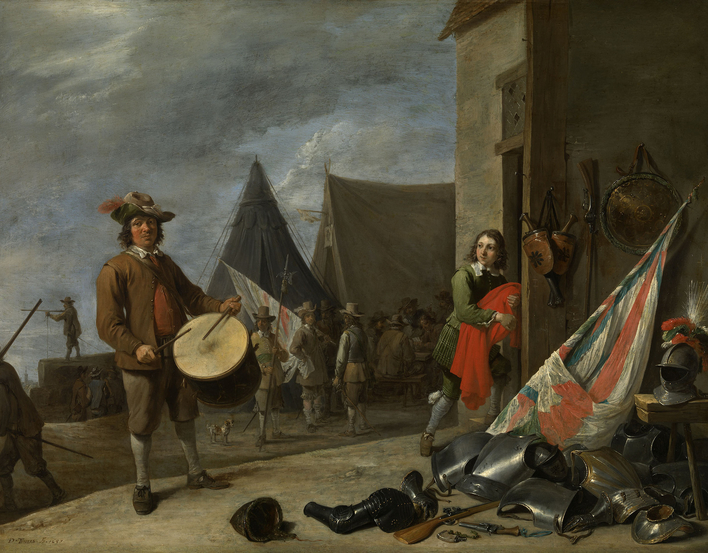 Military subjects were popular on either side of the frontier during the Eighty Years War (1568-1648). The most common image of the soldier's life was the guard-room scene, a glamorous version of the tavern scene, where soldiers smoke, drink and pla
