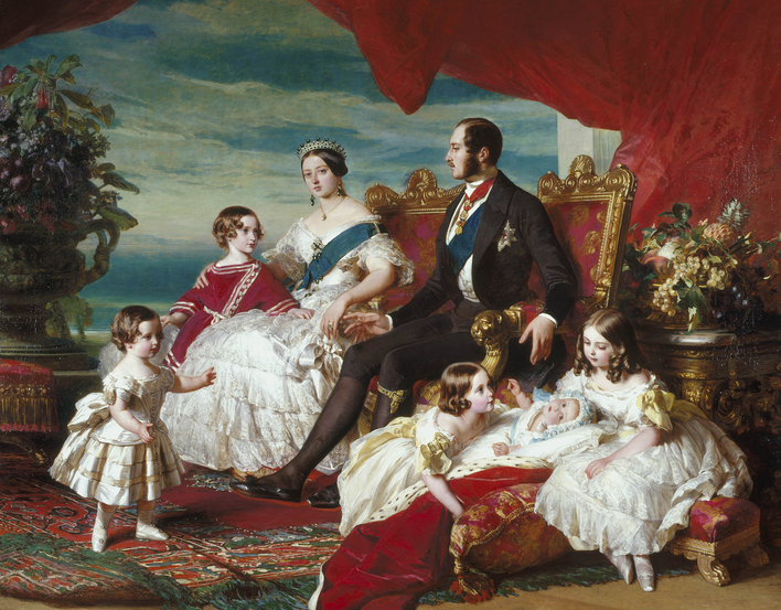 In this well-known picture Queen Victoria is skilfully depicted as both sovereign and mother. The scene is one of domestic harmony, peace and happiness, albeit with many allusions to royal status: grandeur in the form of jewels and furniture, tradition (t
