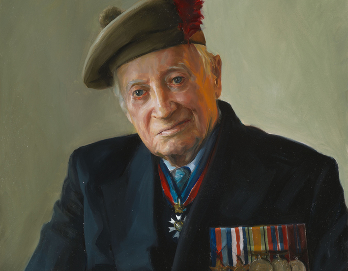 Stewart was the Anti-Tank Platoon Commander with the Tyneside Scottish, landing a couple of days after D-Day. He took part in the defence of Rauray, where he commanded his platoon against a Panzer counter-attack.
