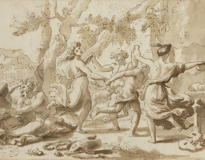 Recto: a drawing of a round dance before a herm of Pan (or Priapus), with a nymph and satyr to the left. Verso: a very weak sketch of a Holy Family group. The verso has not been catalogued.  Nicolas Poussin was the outstanding French painter of the Baro