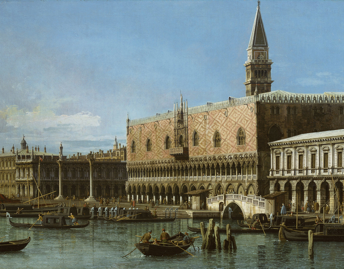 The view is from the Bacino towards the Molo. From the right, the Prisons, with the Ponte della Paglia between them and the Doges' Palace (the Campanile behind), the columns of S. Marco and S. Teodoro, the Libreria, the Zecca and the Granaries, with the c