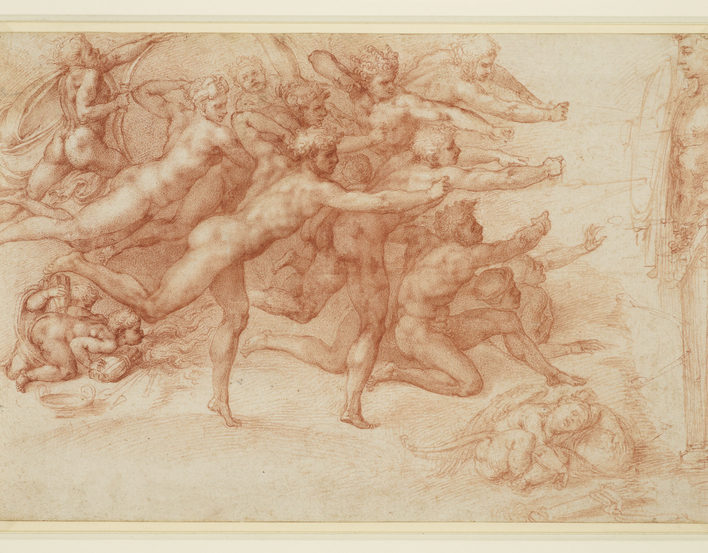 <p>A red chalk drawing of a group of archers without bows shooting arrows at a target hung on a herm to the right. Amor sleeps on the ground, at lower right; to the left, other putti blow on a fire. On the verso, inscribed in pen and ink by a later hand: