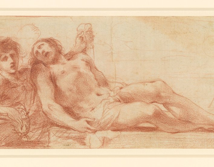 A drawing of a full-length figure of Christ lying with his head to the left and legs crossed on the right; the winged angel is visible to the waist, and stands on the left, looking at the spectator, holding the crown of thorns in his right hand and suppor