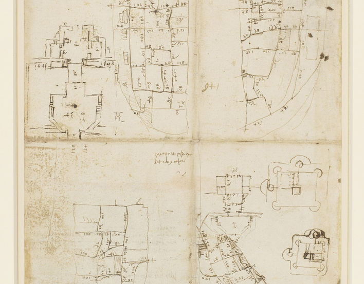 Recto: plans of a castle, roughly drawn; four plots of ground showing numerous blocks of buildings, with the streets numbered; some notes. Verso: further notes. This is a preliminary study for the map of Imola, RL 12284.