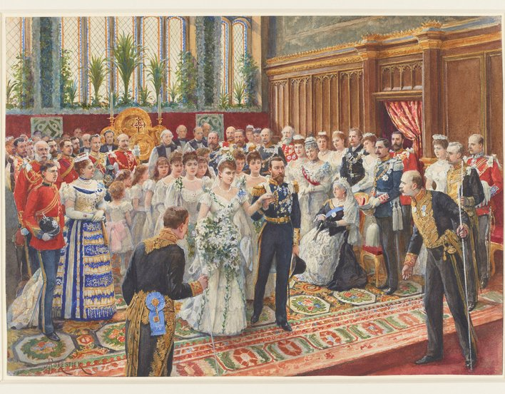 A watercolour depicting the bride and bridegroom coming down from the altar after the marriage service in the Chapel Royal, St James's Palace. During their two-month engagement, the Duke of York and Princess May saw little of one another but corresponded