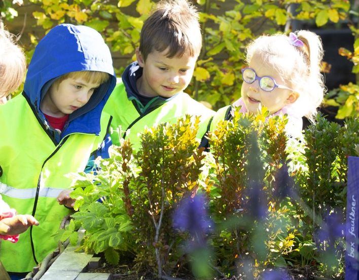 Nursery class in the Physic Garden looking at  herbs
