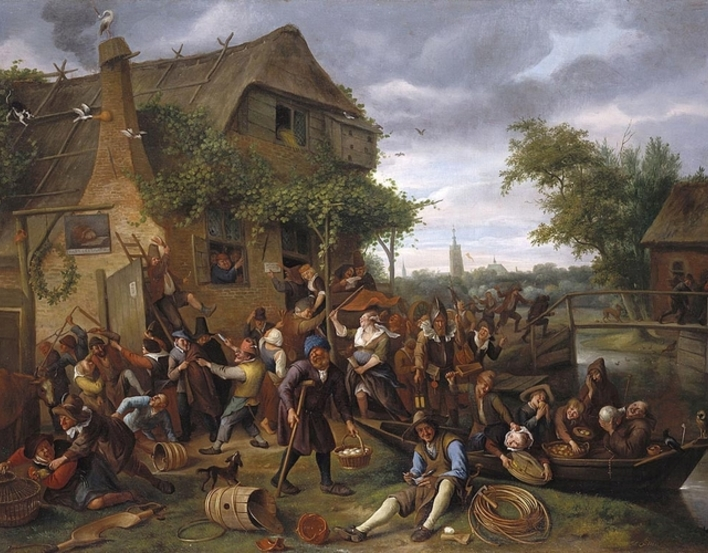 Painting of A Village Revel by Jan Steen showing a grouping of people having a party outside a building