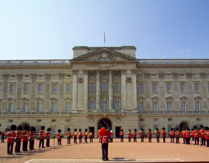 Changing the guard in the forecourt of Buckingham Palace
