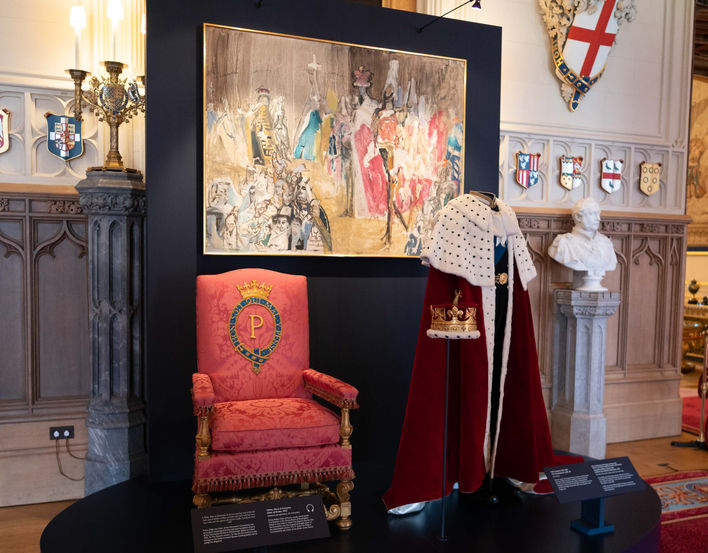 Coronation robes and coronet in Prince Philip exhibition