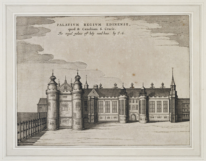 Engraving of the west front of the Palace of Holyroodhouse