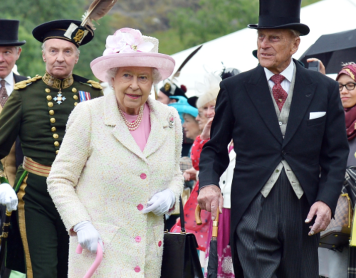 The Queen and Prince Philip at a Garden Party at the Palace of Holyroodhouse
