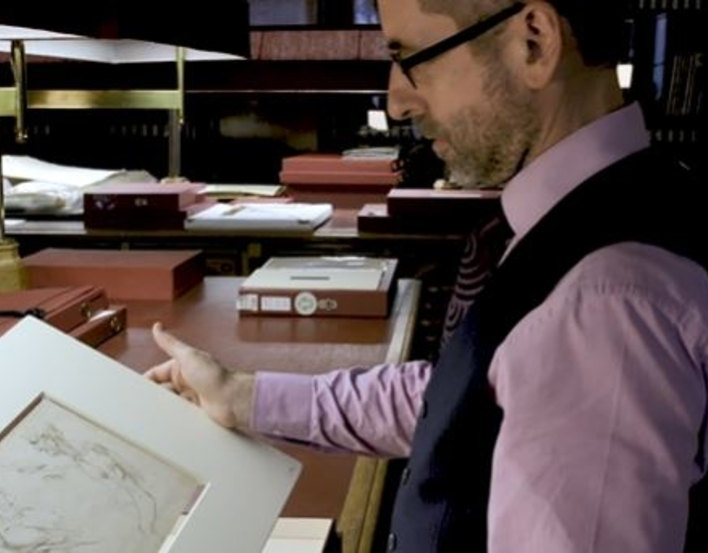 Martin Clayton looking at a Leonardo da Vinci drawing in the Print Room at Windsor Castle