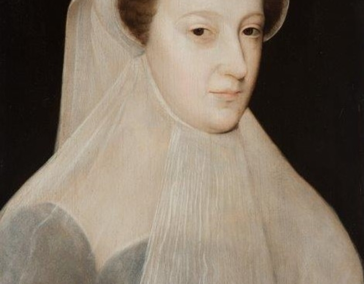 Head and shoulders portrait of Mary, Queen of Scots wearing white veil