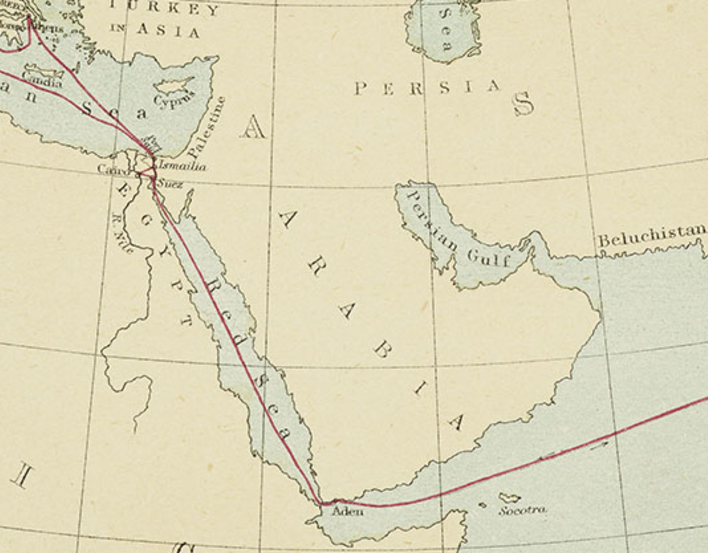 Detail from a map of India and the Middle East, showing the route of the Prince of Wales' tour