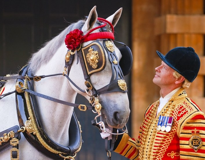A Coachman and a horse at the Royal Mews, Buckingham Palace