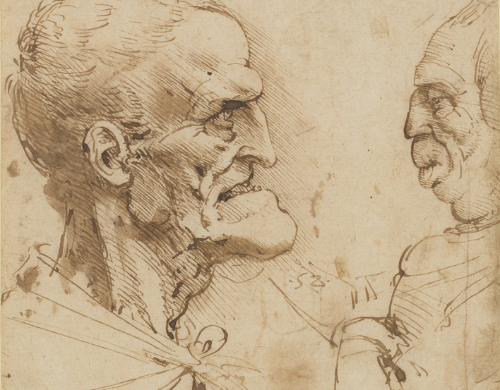 Two grotesque profiles confronted