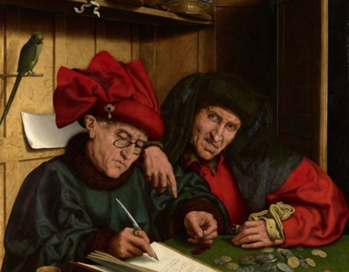 Image of the painting 'The Misers' - two grumpy looking men count money together