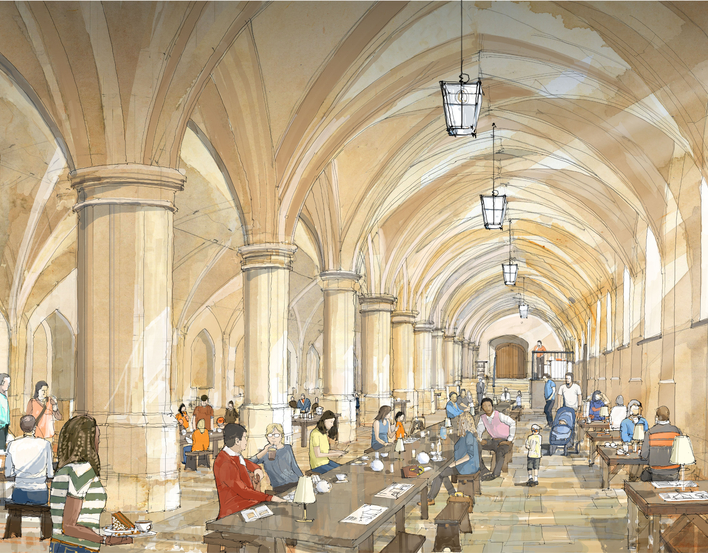 An artist's impression of the new café in the Undercroft at Windsor Castle.