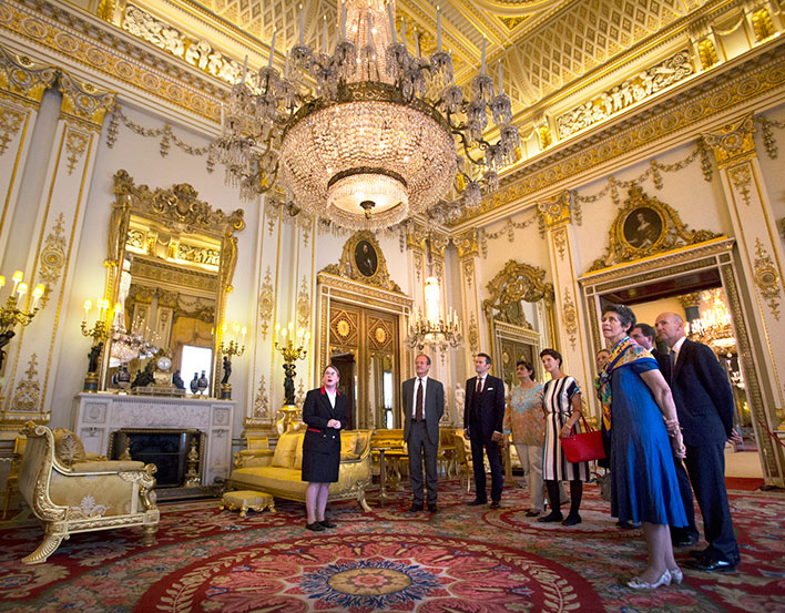 Visitors on an Exclusive Evening Tour at Buckingham Palace.