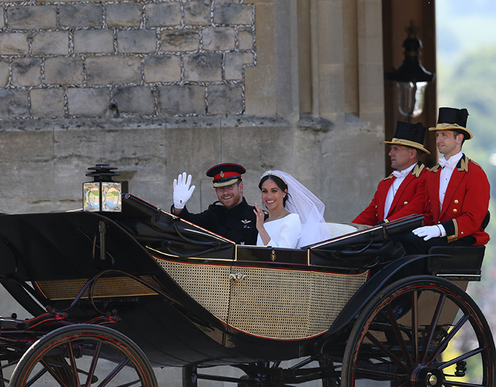 The Duke and Duchess of Sussex in the Ascot Landau.