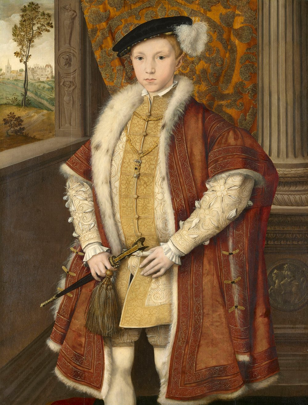 Painting showing Edward VI standing by a window