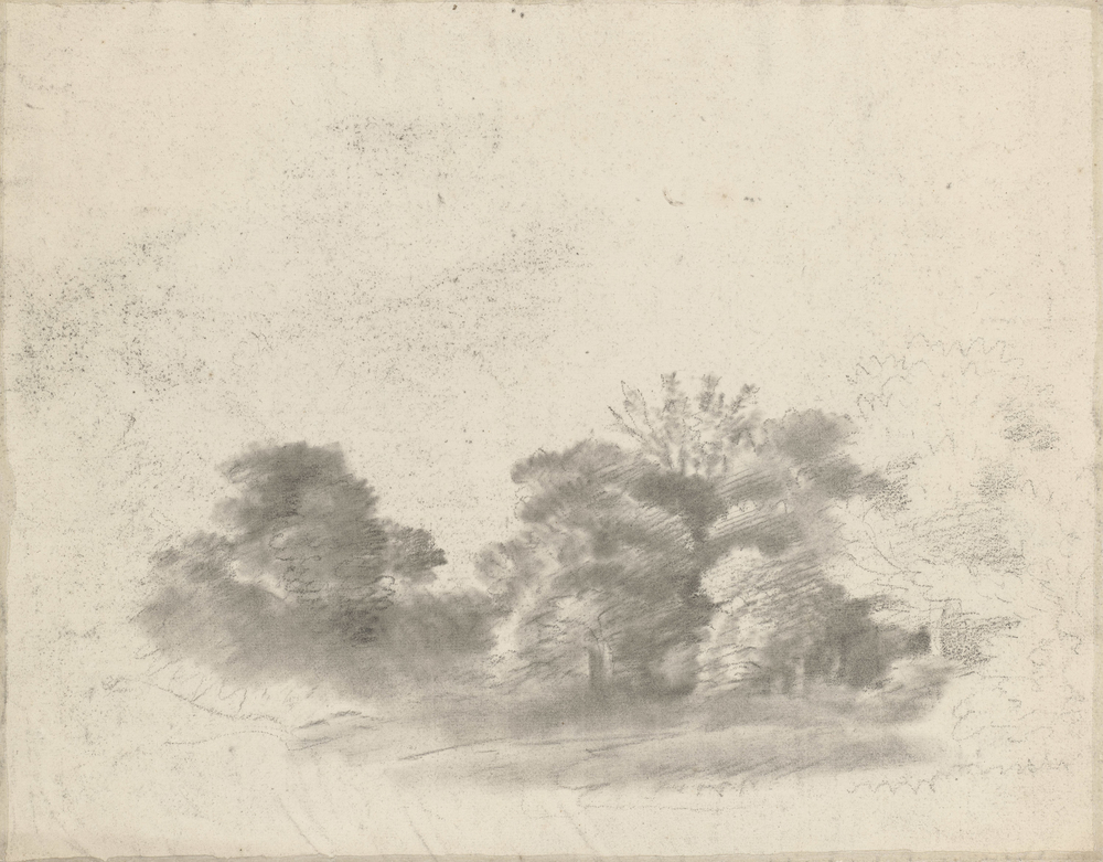 Adrawing in blackchalk and stumpshowing trees and a path winding into the distance. On the verso, a drawing of trees, softened with stump. This drawing bears strong similarities to other landscape drawings by Gainsborough from the 1740s