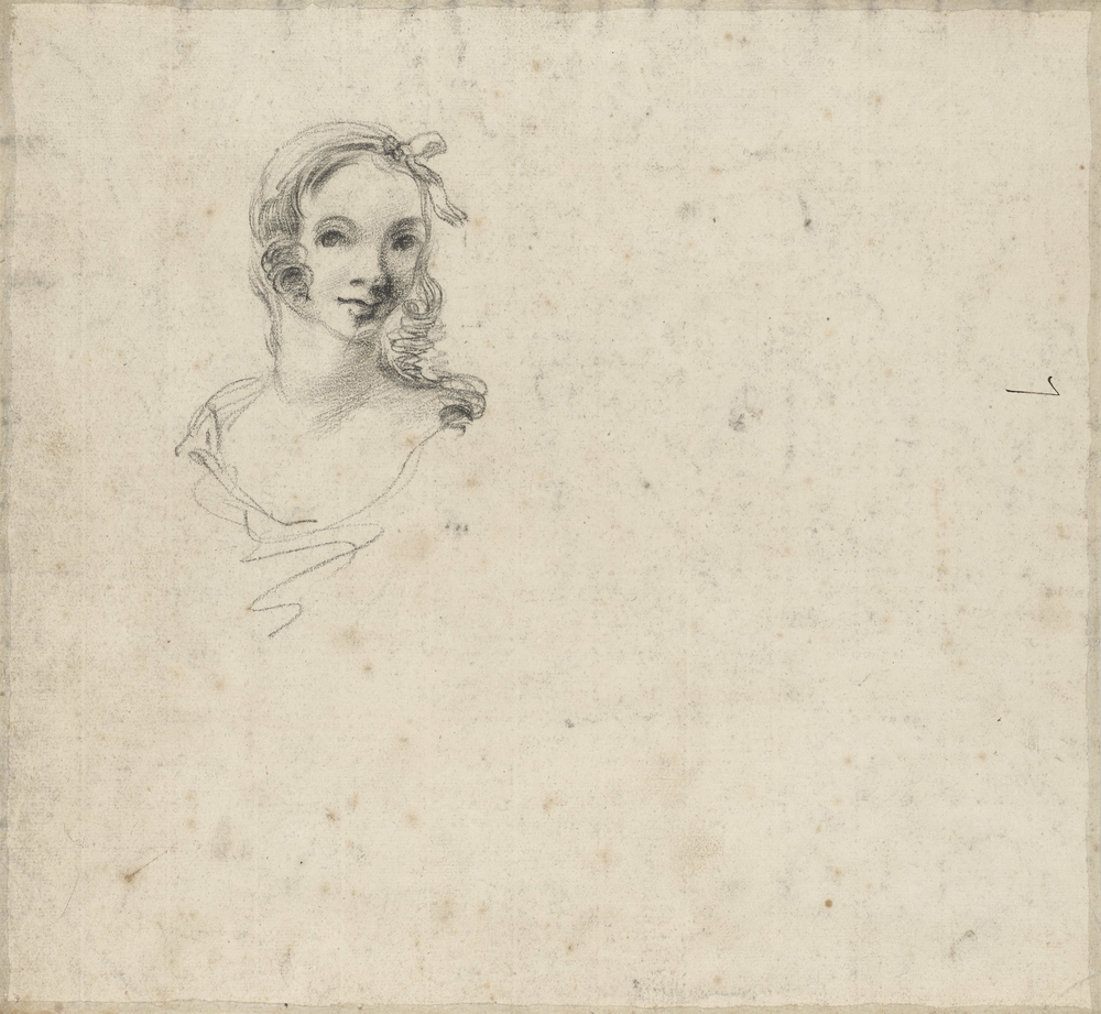 A black chalk drawing of a landscape with trees, burdock plants and apond in the middle ground. On the verso, a black chalk portrait drawing of the head of a young girl, and the figure '7' in ink.It is tempting to think that the figure study c