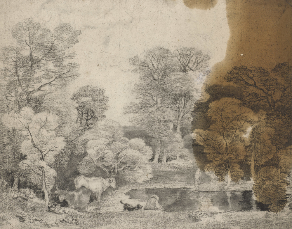 A drawing in black chalk and stumpshowing trees and a lake, with cows at the water's edge, and a man and his dog.Large oil stainto right. On the verso, another landscape study.This drawing is one of 25 landscape drawings in the Royal Co
